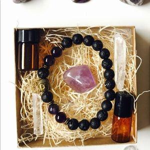 Aromatherapy Mala Set - ROSE QUARTZ & LAVA Stone